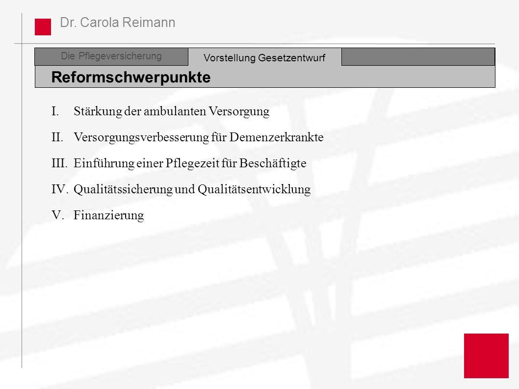 Dr. Carola Reimann Die Pflegeversicherung Reformschwerpunkte Vorstellung Gesetzentwurf I.Stärkung der ambulanten Versorgung II.Versorgungsverbesserung