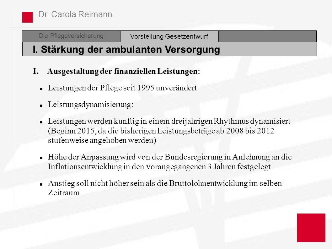 Dr. Carola Reimann Die Pflegeversicherung I. Stärkung der ambulanten Versorgung Vorstellung Gesetzentwurf I. Ausgestaltung der finanziellen Leistungen