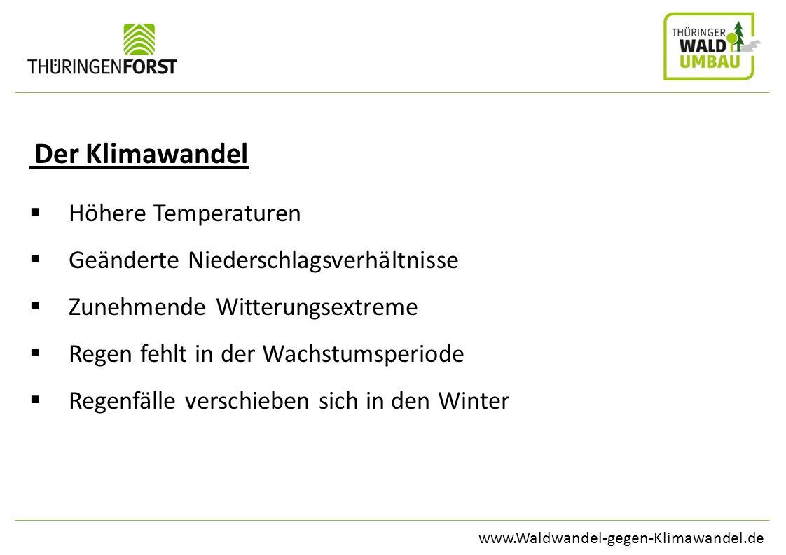 www.Waldwandel-gegen-Klimawandel.de Der Klimawandel Höhere Temperaturen Geänderte Niederschlagsverhältnisse Zunehmende Witterungsextreme Regen fehlt i