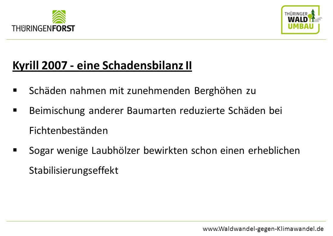 www.Waldwandel-gegen-Klimawandel.de Kyrill 2007 - eine Schadensbilanz II Schäden nahmen mit zunehmenden Berghöhen zu Beimischung anderer Baumarten red