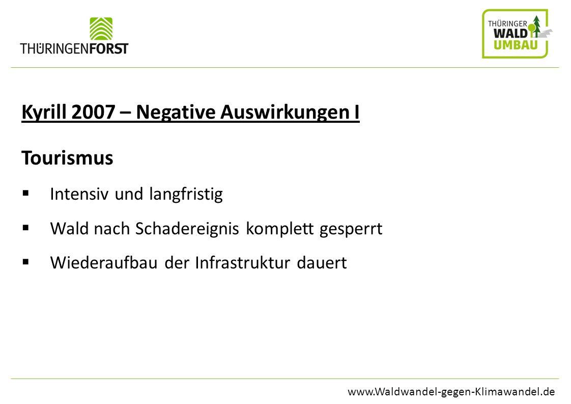 www.Waldwandel-gegen-Klimawandel.de Kyrill 2007 – Negative Auswirkungen I Tourismus Intensiv und langfristig Wald nach Schadereignis komplett gesperrt