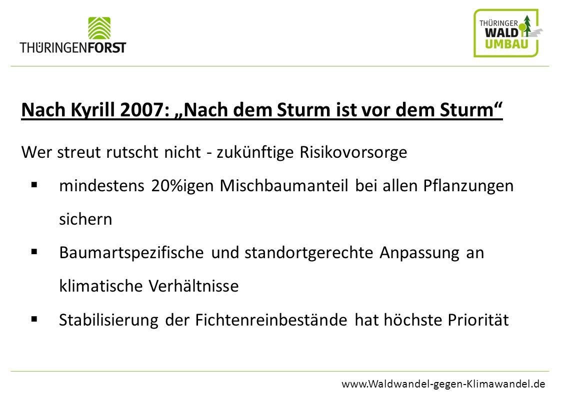 www.Waldwandel-gegen-Klimawandel.de Nach Kyrill 2007: Nach dem Sturm ist vor dem Sturm Wer streut rutscht nicht - zukünftige Risikovorsorge mindestens