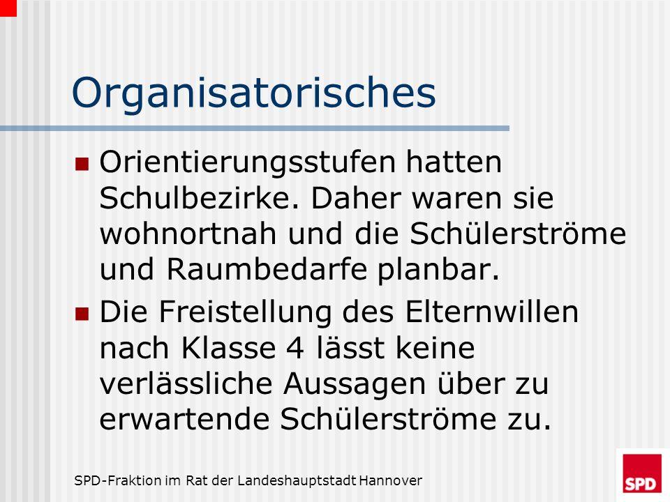 SPD-Fraktion im Rat der Landeshauptstadt Hannover Organisatorisches Orientierungsstufen hatten Schulbezirke. Daher waren sie wohnortnah und die Schüle