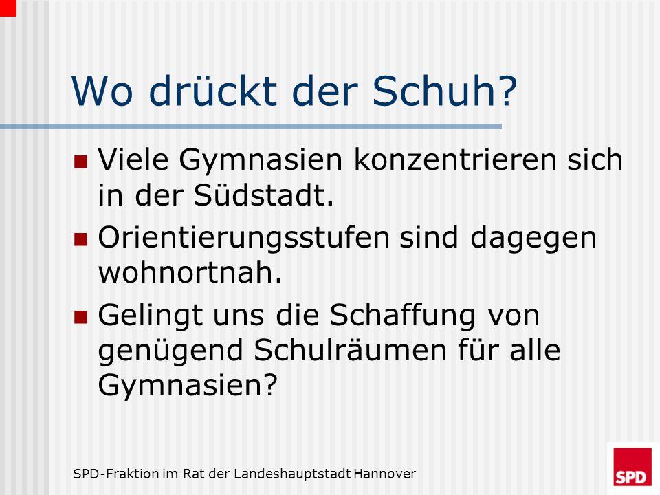 SPD-Fraktion im Rat der Landeshauptstadt Hannover Wo drückt der Schuh? Viele Gymnasien konzentrieren sich in der Südstadt. Orientierungsstufen sind da