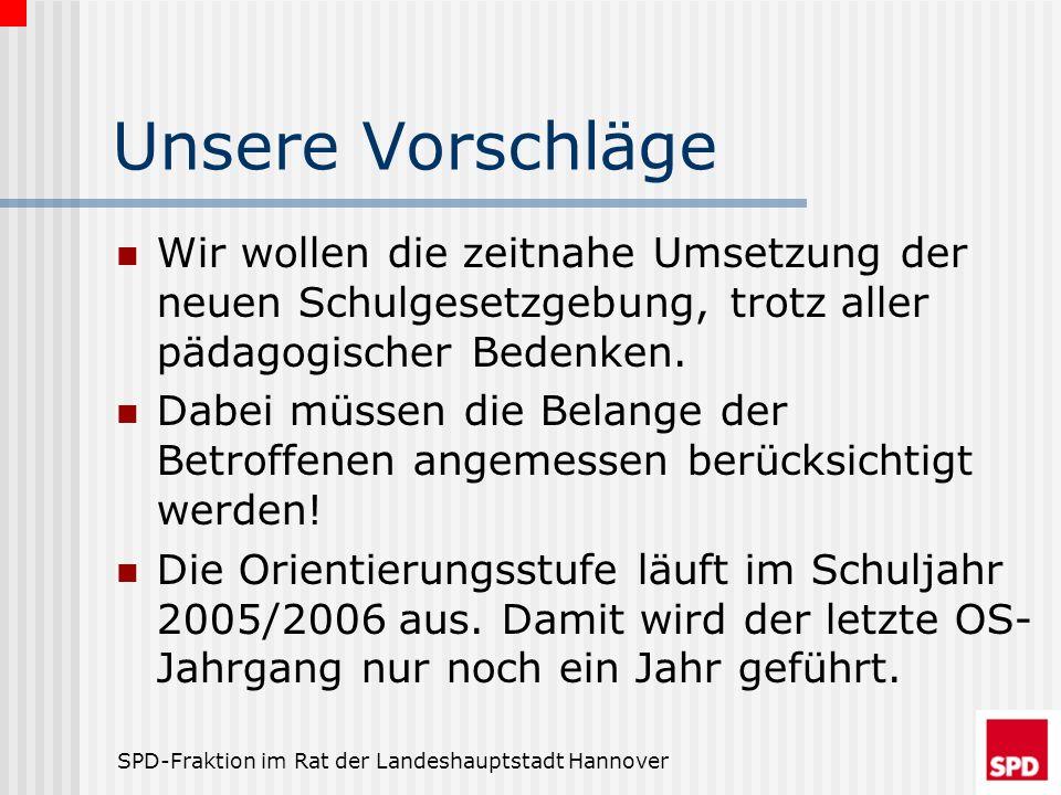 SPD-Fraktion im Rat der Landeshauptstadt Hannover Unsere Vorschläge Wir wollen die zeitnahe Umsetzung der neuen Schulgesetzgebung, trotz aller pädagog