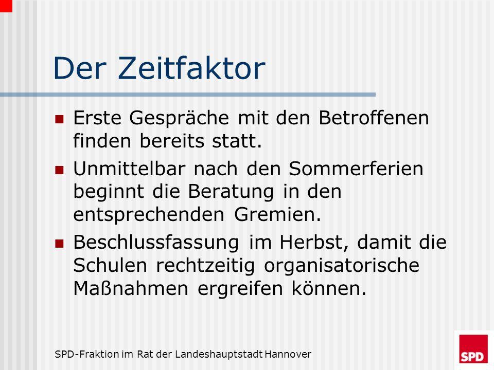 SPD-Fraktion im Rat der Landeshauptstadt Hannover Der Zeitfaktor Erste Gespräche mit den Betroffenen finden bereits statt. Unmittelbar nach den Sommer