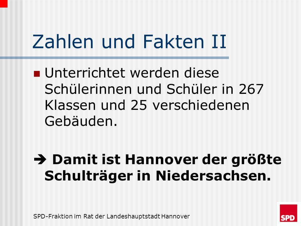 SPD-Fraktion im Rat der Landeshauptstadt Hannover Zahlen und Fakten II Unterrichtet werden diese Schülerinnen und Schüler in 267 Klassen und 25 versch