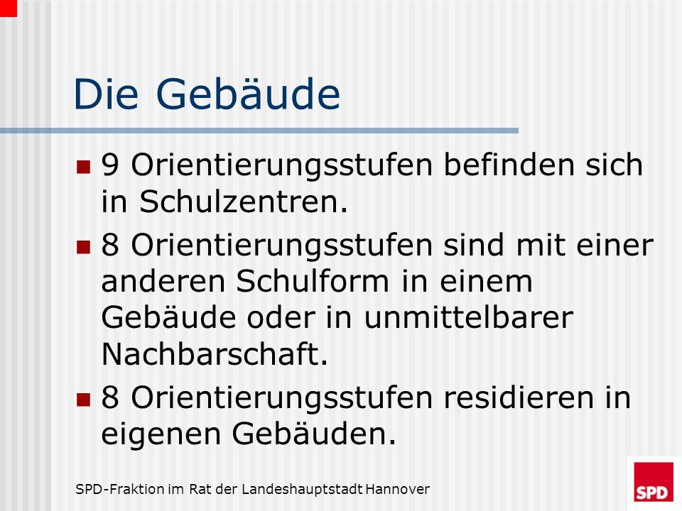 SPD-Fraktion im Rat der Landeshauptstadt Hannover Die Gebäude 9 Orientierungsstufen befinden sich in Schulzentren. 8 Orientierungsstufen sind mit eine