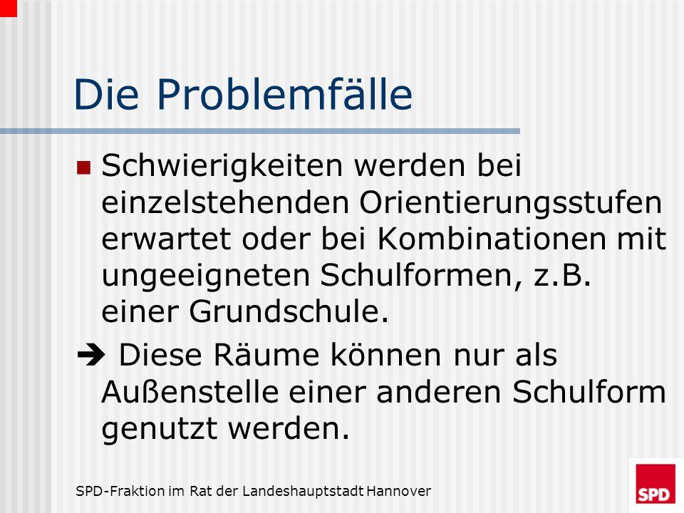 SPD-Fraktion im Rat der Landeshauptstadt Hannover Die Problemfälle Schwierigkeiten werden bei einzelstehenden Orientierungsstufen erwartet oder bei Ko