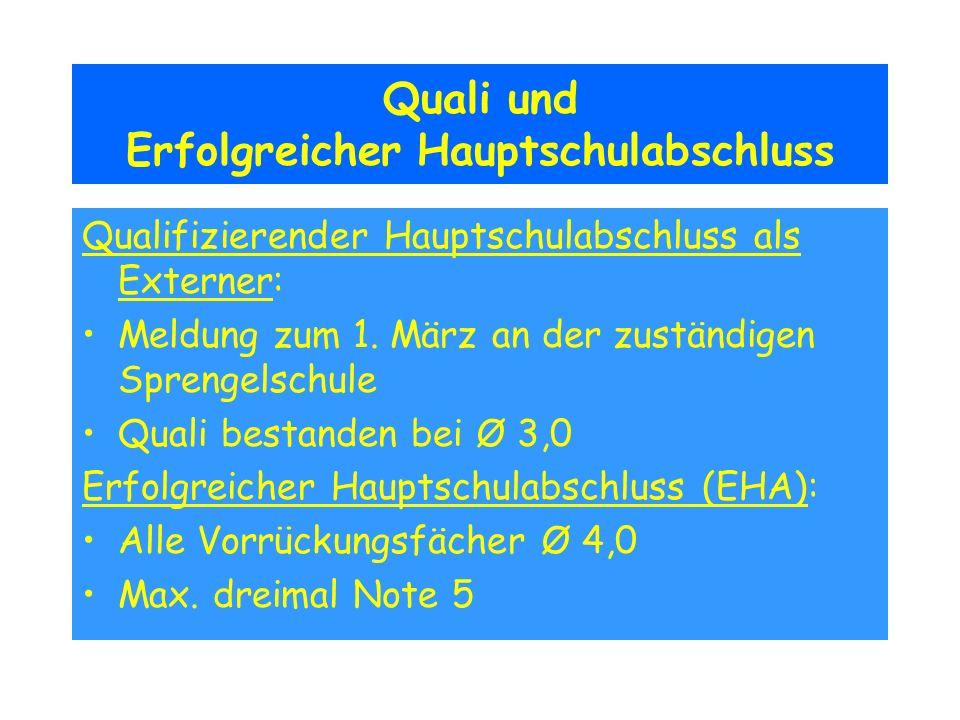 Quali und Erfolgreicher Hauptschulabschluss Qualifizierender Hauptschulabschluss als Externer: Meldung zum 1. März an der zuständigen Sprengelschule Q
