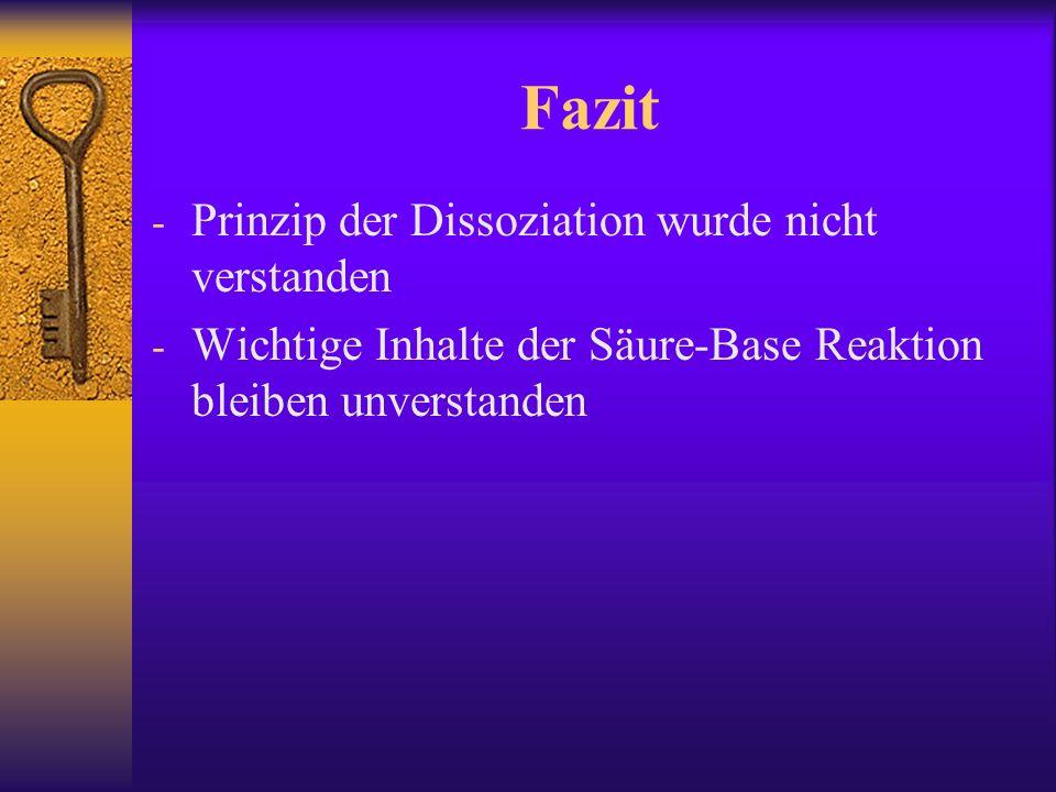 Fazit - Prinzip der Dissoziation wurde nicht verstanden - Wichtige Inhalte der Säure-Base Reaktion bleiben unverstanden