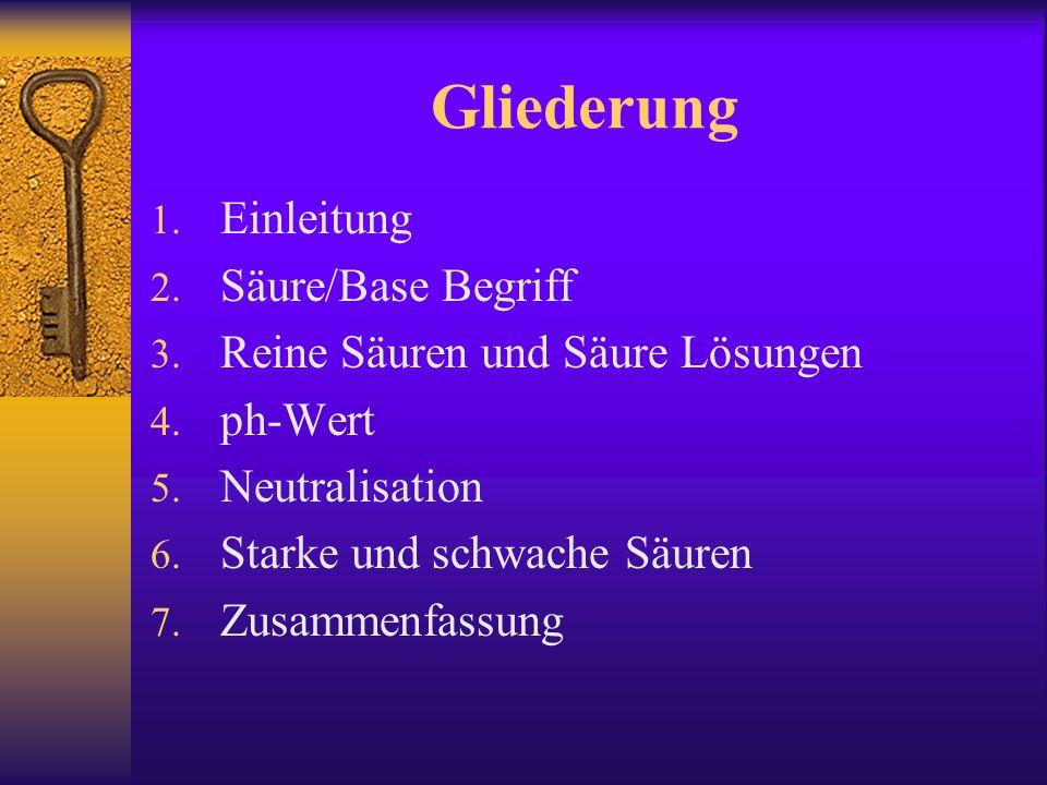 Gliederung 1.Einleitung 2. Säure/Base Begriff 3. Reine Säuren und Säure Lösungen 4.