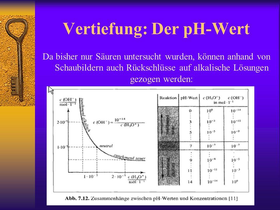 Vertiefung: Der pH-Wert Da bisher nur Säuren untersucht wurden, können anhand von Schaubildern auch Rückschlüsse auf alkalische Lösungen gezogen werden:
