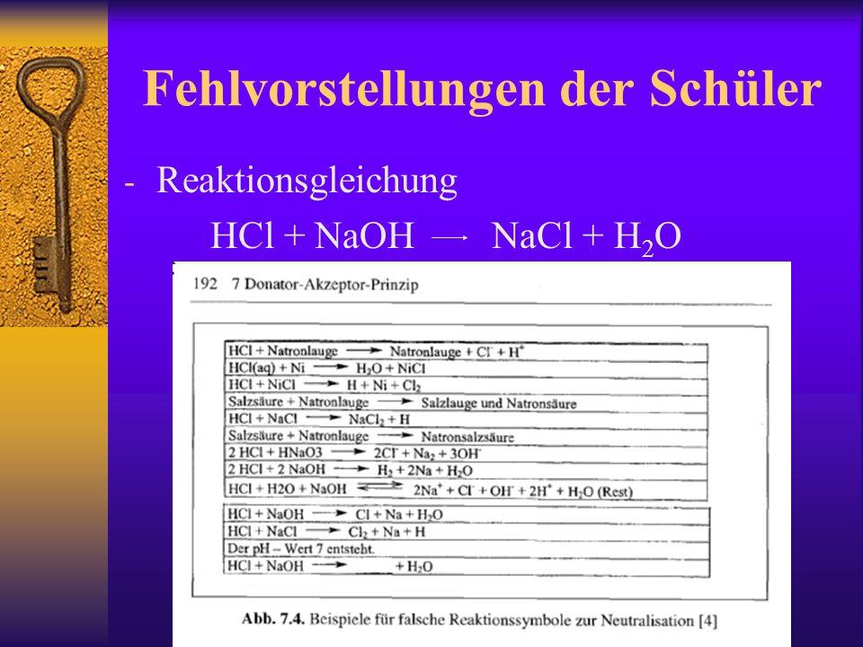 Fehlvorstellungen der Schüler - Reaktionsgleichung HCl + NaOH NaCl + H 2 O