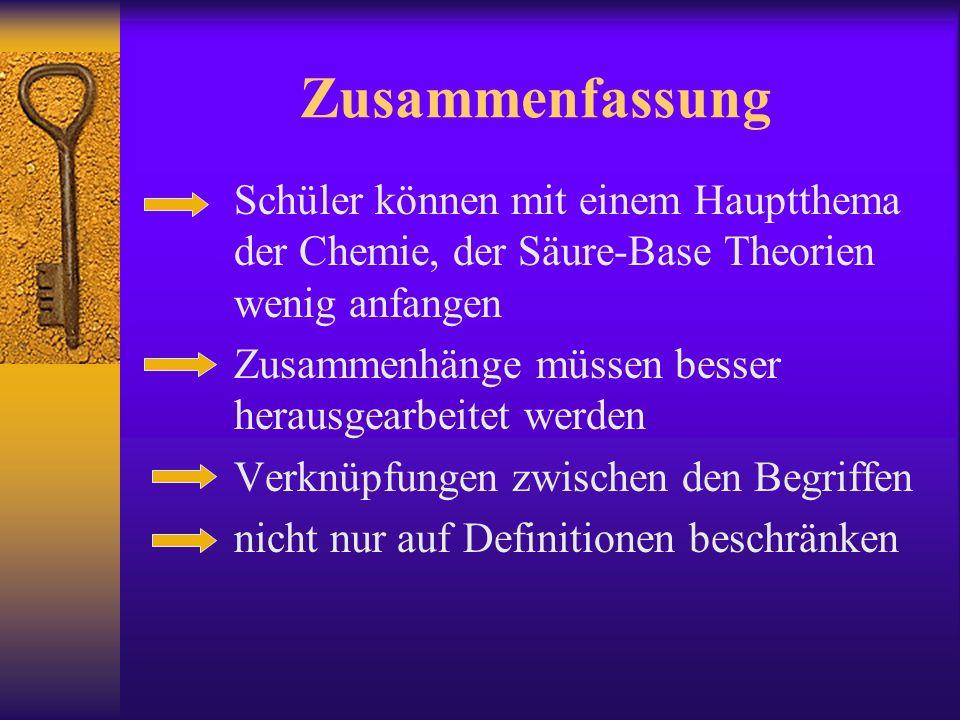 Zusammenfassung Schüler können mit einem Hauptthema der Chemie, der Säure-Base Theorien wenig anfangen Zusammenhänge müssen besser herausgearbeitet werden Verknüpfungen zwischen den Begriffen nicht nur auf Definitionen beschränken