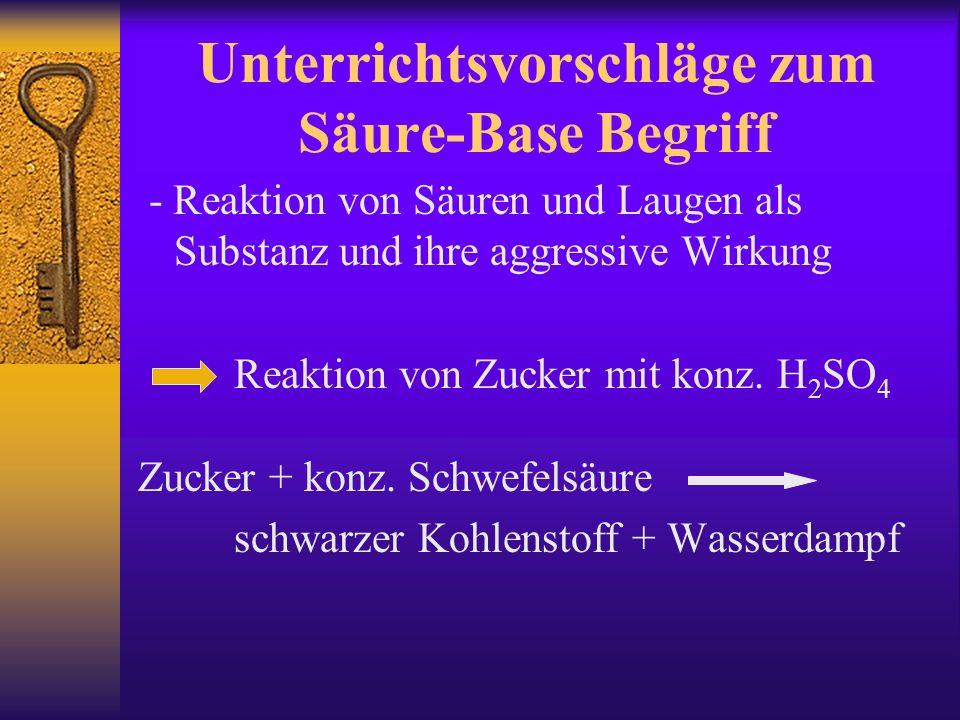 Unterrichtsvorschläge zum Säure-Base Begriff - Reaktion von Säuren und Laugen als Substanz und ihre aggressive Wirkung Reaktion von Zucker mit konz.