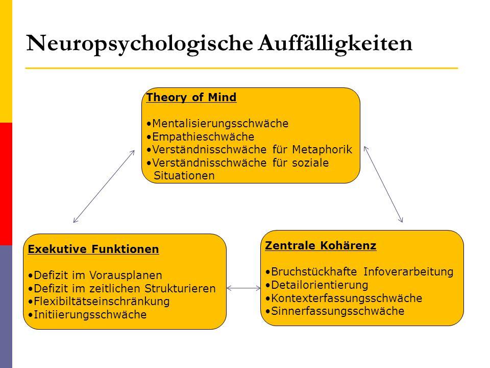 Neuropsychologische Auffälligkeiten Theory of Mind Mentalisierungsschwäche Empathieschwäche Verständnisschwäche für Metaphorik Verständnisschwäche für