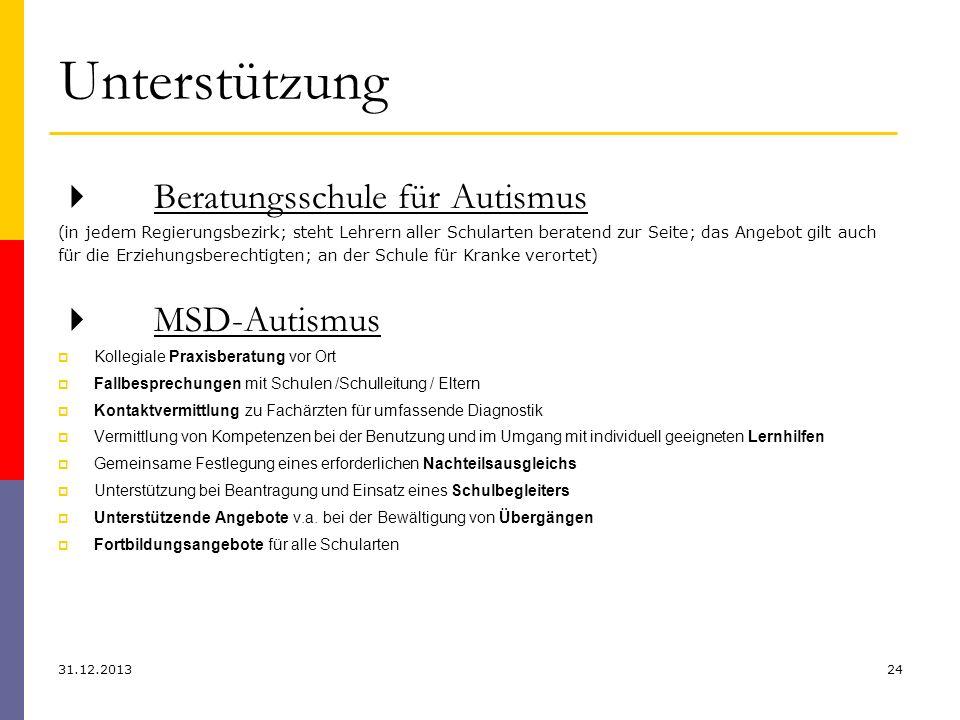 Unterstützung 31.12.201324 Beratungsschule für Autismus (in jedem Regierungsbezirk; steht Lehrern aller Schularten beratend zur Seite; das Angebot gil