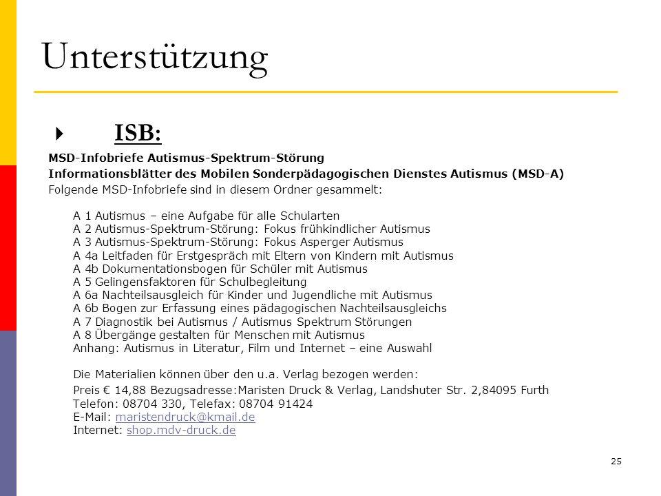 Unterstützung ISB: MSD-Infobriefe Autismus-Spektrum-Störung Informationsblätter des Mobilen Sonderpädagogischen Dienstes Autismus (MSD-A) Folgende MSD