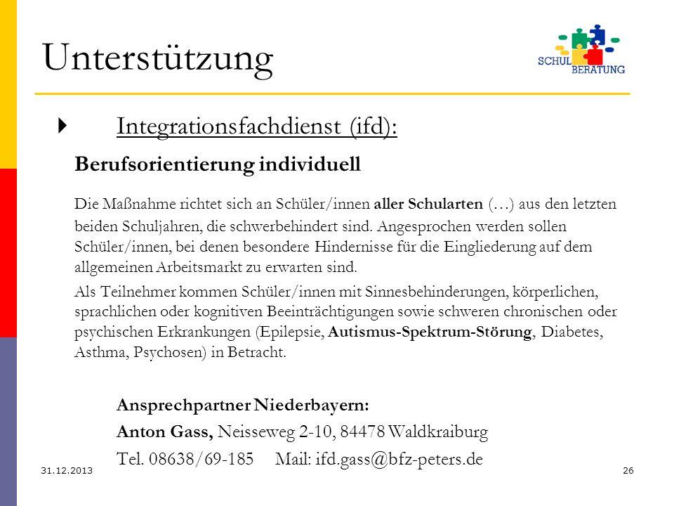 Unterstützung Integrationsfachdienst (ifd): Berufsorientierung individuell Die Maßnahme richtet sich an Schüler/innen aller Schularten (…) aus den let