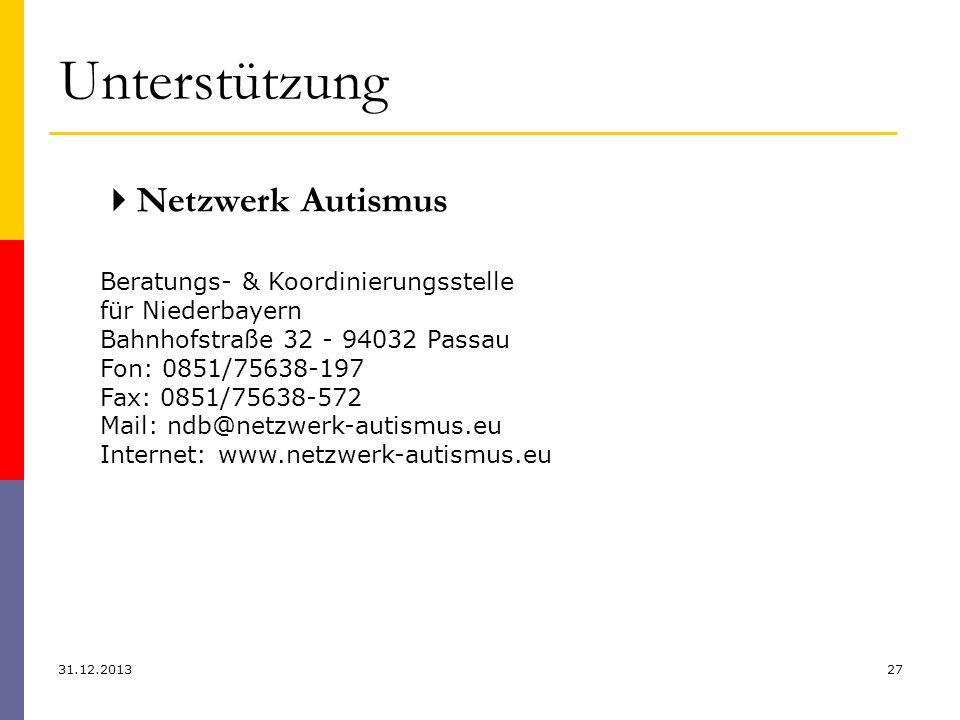 Unterstützung 31.12.201327 Netzwerk Autismus Beratungs- & Koordinierungsstelle für Niederbayern Bahnhofstraße 32 - 94032 Passau Fon: 0851/75638-197 Fa