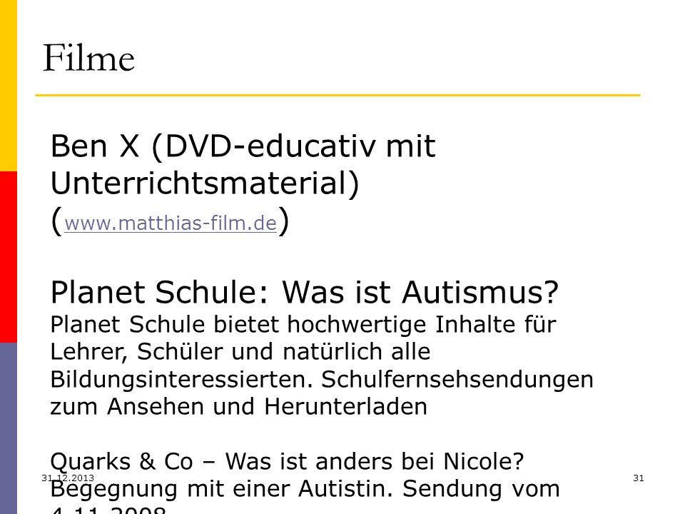 Filme 31.12.201331 Ben X (DVD-educativ mit Unterrichtsmaterial) ( www.matthias-film.de ) www.matthias-film.de Planet Schule: Was ist Autismus? Planet