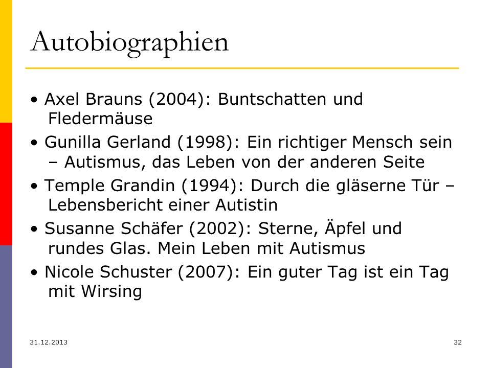 Autobiographien 31.12.201332 Axel Brauns (2004): Buntschatten und Fledermäuse Gunilla Gerland (1998): Ein richtiger Mensch sein – Autismus, das Leben