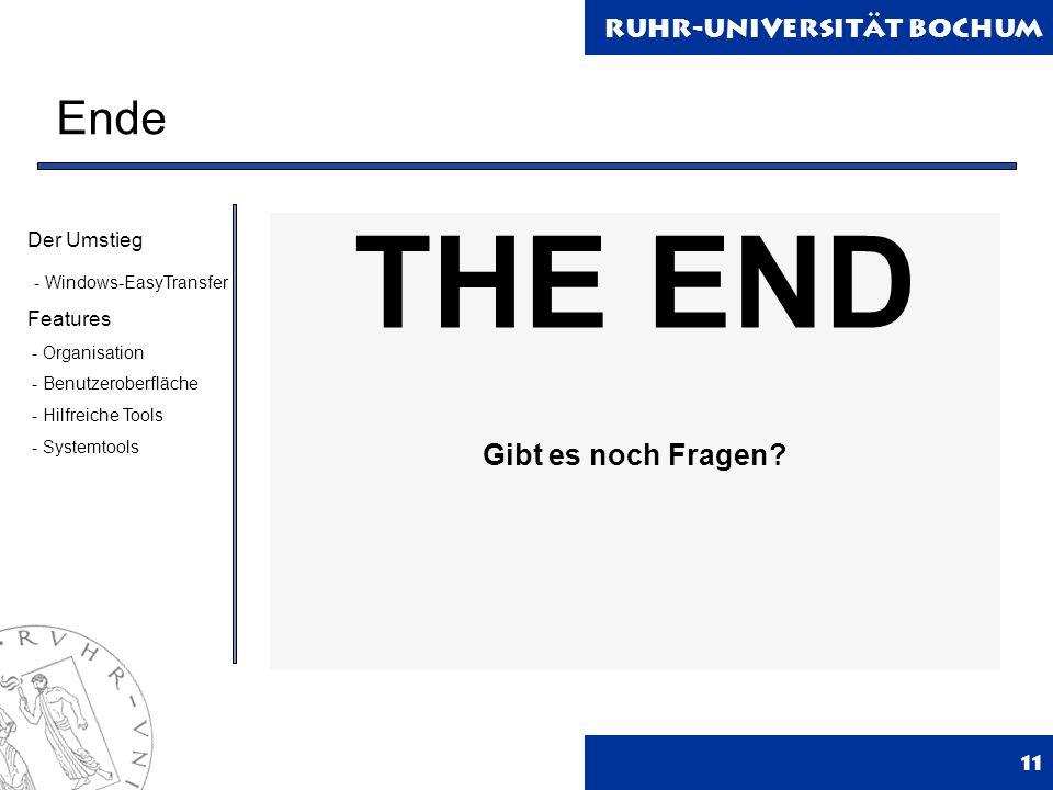 Ruhr-Universität Bochum Ende 11 THE END Gibt es noch Fragen.