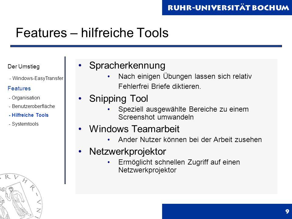 Ruhr-Universität Bochum Features - Systemtools 10 Aufgabenplaner Lässt Anwendungen o.ä.