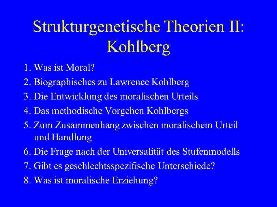 Das methodische Vorgehen Kohlbergs 1.Vorlesen des Dilemmas 2.Bitte um spontane Entscheidung 3.