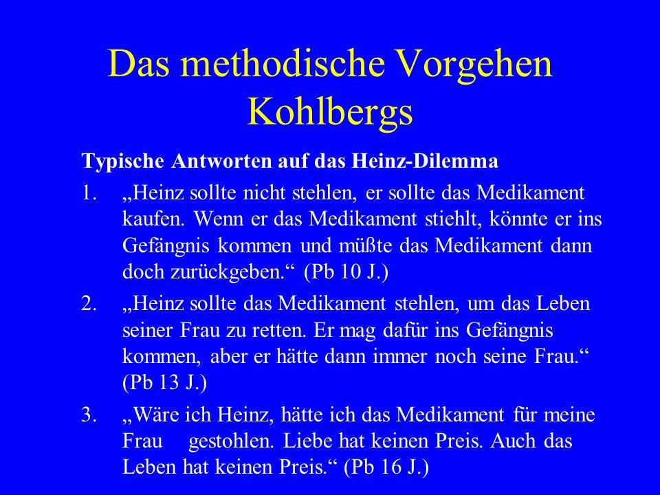 Das methodische Vorgehen Kohlbergs Typische Antworten auf das Heinz-Dilemma 1.