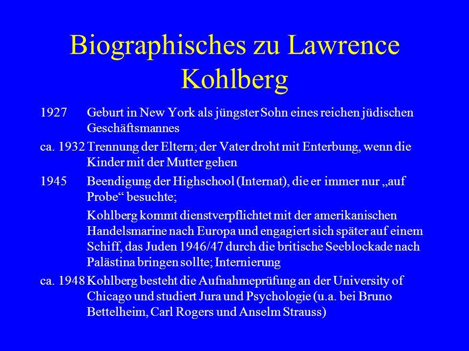 Biographisches zu Lawrence Kohlberg 1958unveröffentlichte Dissertation The Development of Modes of Moral Thinking and Choice in the Years of 10 to 16; Veröffentlichungen dazu erst ab 1963; Assistenzprofessuren in Yale, Palo Alto und Chicago; Konflikte an der Univ.