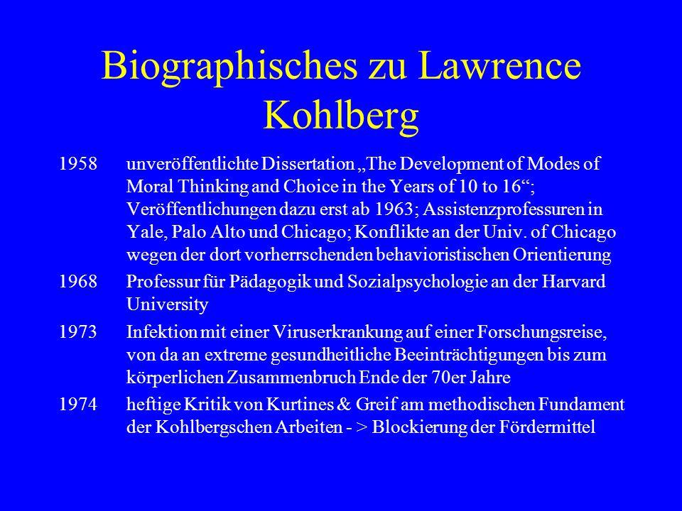 Das methodische Vorgehen Kohlbergs Auswertungsschritte (nach Colby & Kohlberg et al.