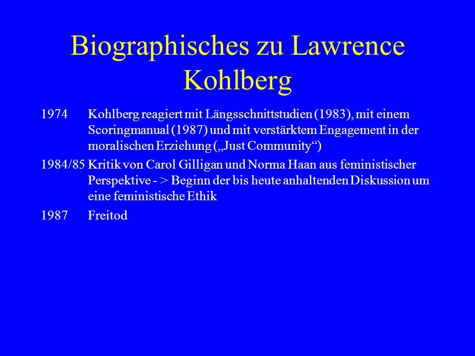 Biographisches zu Lawrence Kohlberg 1974Kohlberg reagiert mit Längsschnittstudien (1983), mit einem Scoringmanual (1987) und mit verstärktem Engagement in der moralischen Erziehung (Just Community) 1984/85Kritik von Carol Gilligan und Norma Haan aus feministischer Perspektive - > Beginn der bis heute anhaltenden Diskussion um eine feministische Ethik 1987Freitod