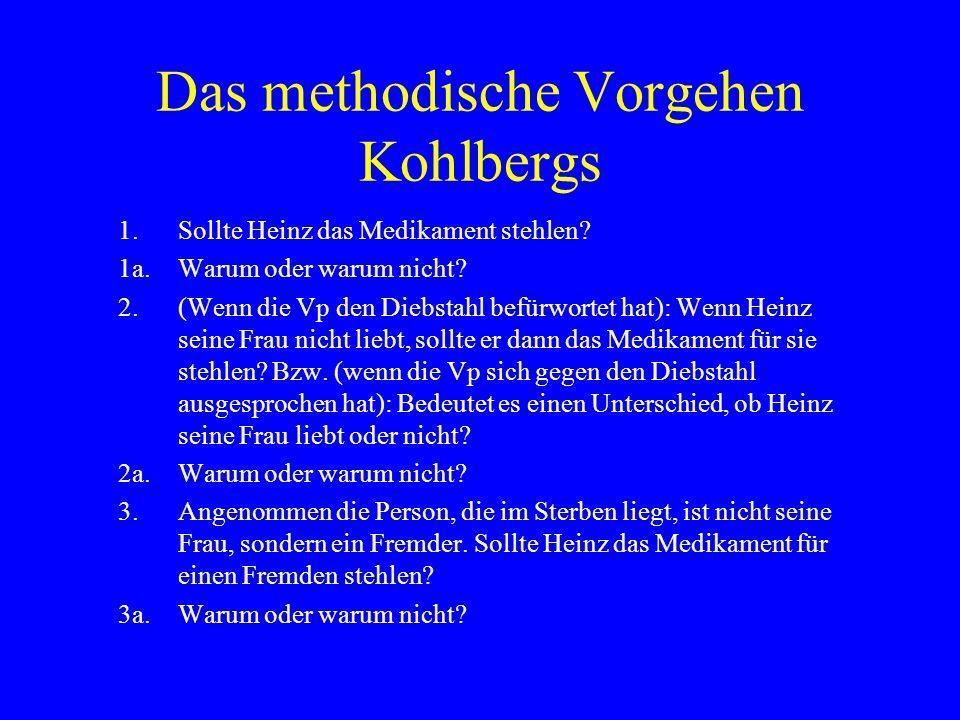 Das methodische Vorgehen Kohlbergs 4.(Wenn die Vp sich dafür ausspricht, das Medikament auch für einen Fremden zu stehlen): Angenommen, es handelt sich um ein Haustier, das Heinz liebt.