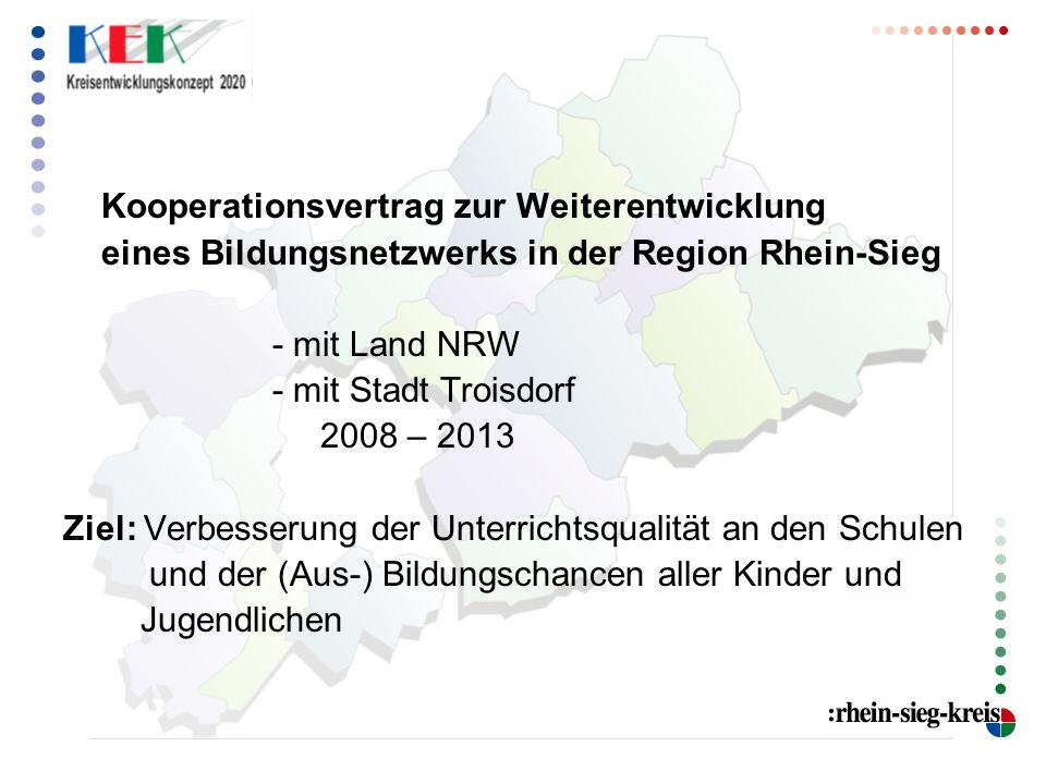 Kooperationsvertrag zur Weiterentwicklung eines Bildungsnetzwerks in der Region Rhein-Sieg - mit Land NRW - mit Stadt Troisdorf 2008 – 2013 Ziel: Verbesserung der Unterrichtsqualität an den Schulen und der (Aus-) Bildungschancen aller Kinder und Jugendlichen
