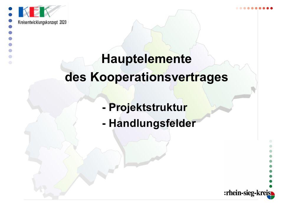 Hauptelemente des Kooperationsvertrages - Projektstruktur - Handlungsfelder