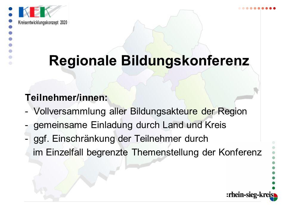 Regionale Bildungskonferenz Teilnehmer/innen: - Vollversammlung aller Bildungsakteure der Region - gemeinsame Einladung durch Land und Kreis - ggf.