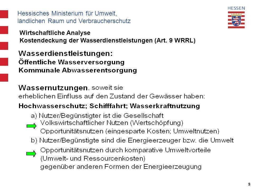 Hessisches Ministerium für Umwelt, ländlichen Raum und Verbraucherschutz 8 Wirtschaftliche Analyse Kostendeckung der Wasserdienstleistungen (Art.