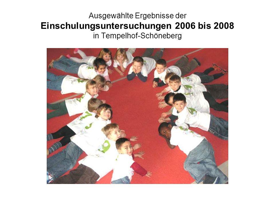 Ausgewählte Ergebnisse der Einschulungsuntersuchungen 2006 bis 2008 in Tempelhof-Schöneberg