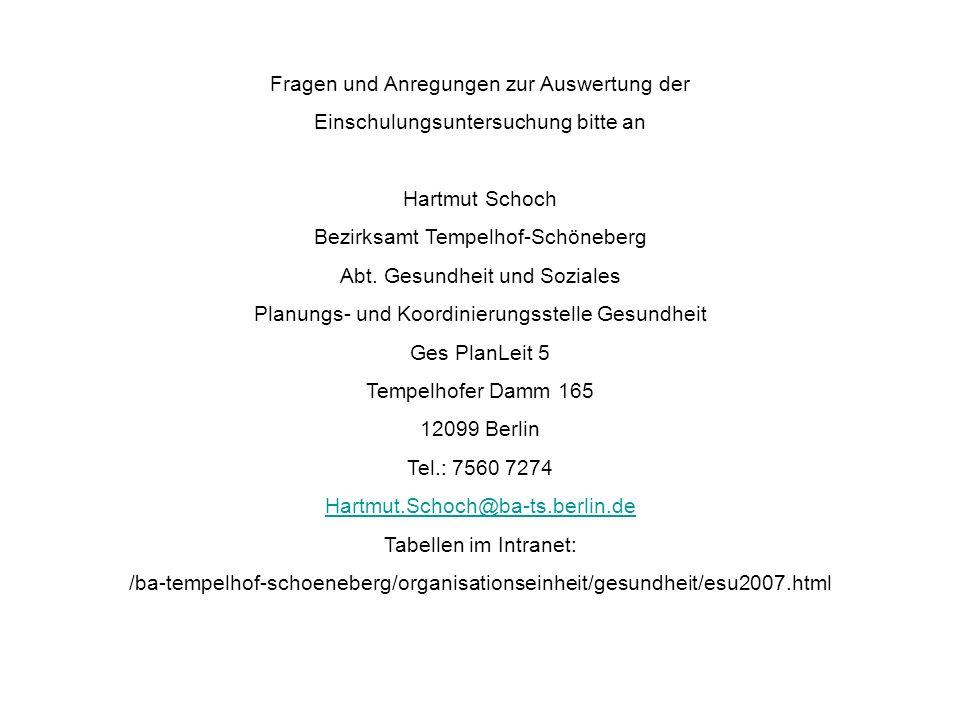 Fragen und Anregungen zur Auswertung der Einschulungsuntersuchung bitte an Hartmut Schoch Bezirksamt Tempelhof-Schöneberg Abt. Gesundheit und Soziales