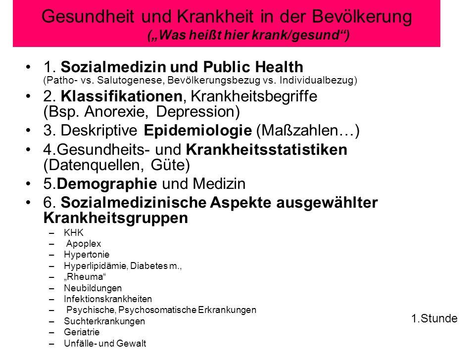 Gesundheit und Krankheit in der Bevölkerung (Was heißt hier krank/gesund) 1.