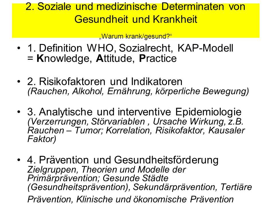 2.Soziale und medizinische Determinaten von Gesundheit und Krankheit Warum krank/gesund.