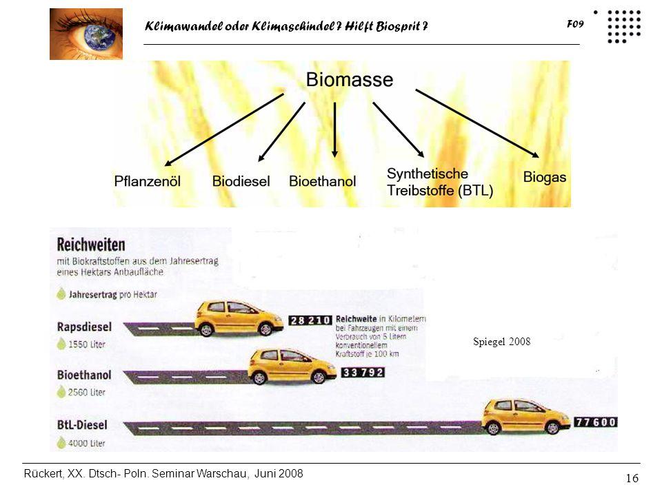 Klimawandel oder Klimaschindel ? Hilft Biosprit ? Rückert, XX. Dtsch- Poln. Seminar Warschau, Juni 2008 F09 16 Spiegel 2008