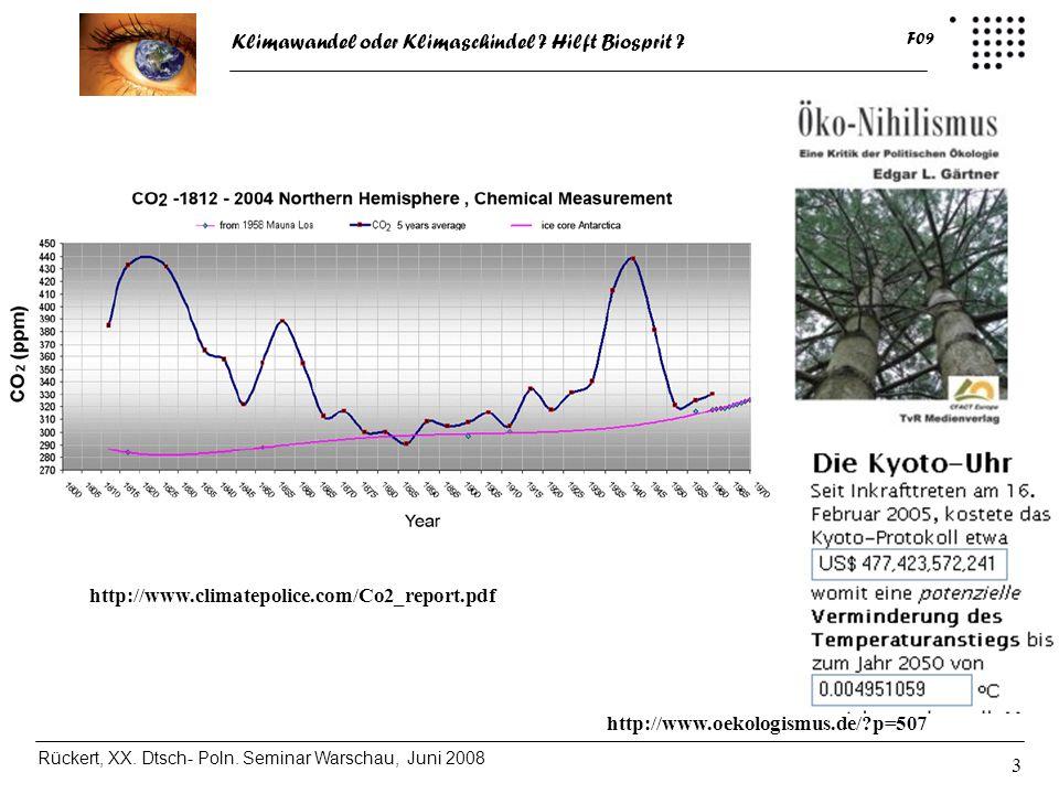 Klimawandel oder Klimaschindel ? Hilft Biosprit ? Rückert, XX. Dtsch- Poln. Seminar Warschau, Juni 2008 F09 3 http://www.oekologismus.de/?p=507 http:/