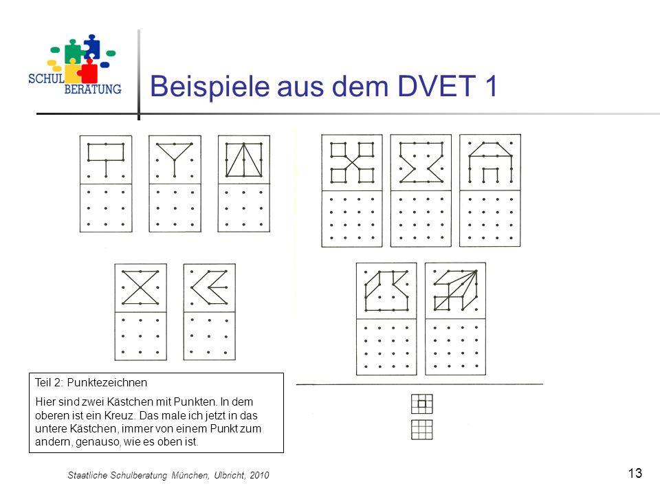 Staatliche Schulberatung München, Ulbricht, 2010 13 Beispiele aus dem DVET 1 Teil 2: Punktezeichnen Hier sind zwei Kästchen mit Punkten. In dem oberen