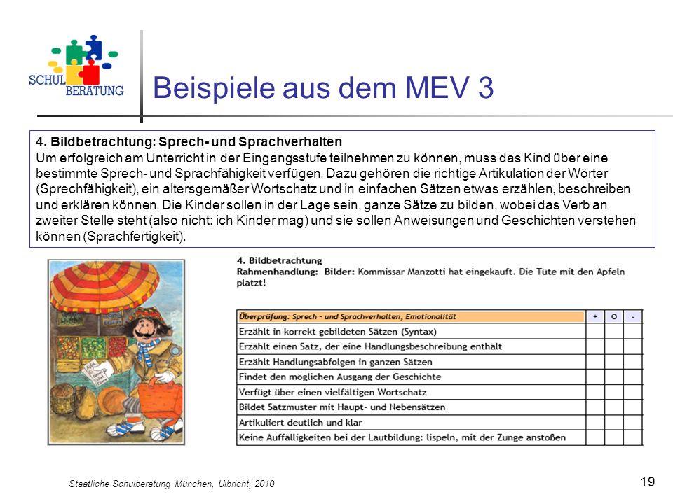 Staatliche Schulberatung München, Ulbricht, 2010 19 Beispiele aus dem MEV 3 4. Bildbetrachtung: Sprech- und Sprachverhalten Um erfolgreich am Unterric