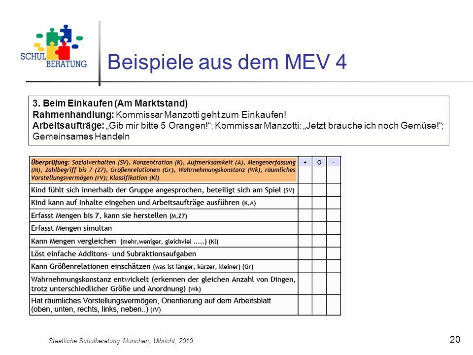 Staatliche Schulberatung München, Ulbricht, 2010 20 Beispiele aus dem MEV 4 3. Beim Einkaufen (Am Marktstand) Rahmenhandlung: Kommissar Manzotti geht