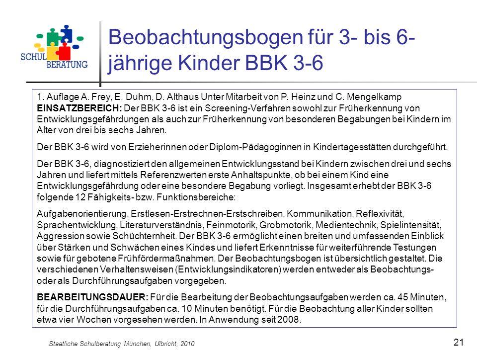 Staatliche Schulberatung München, Ulbricht, 2010 21 Beobachtungsbogen für 3- bis 6- jährige Kinder BBK 3-6 1. Auflage A. Frey, E. Duhm, D. Althaus Unt