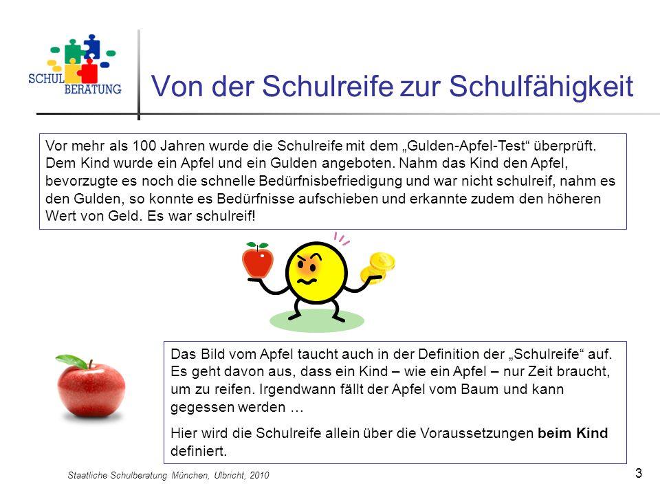 Staatliche Schulberatung München, Ulbricht, 2010 3 Von der Schulreife zur Schulfähigkeit Vor mehr als 100 Jahren wurde die Schulreife mit dem Gulden-A
